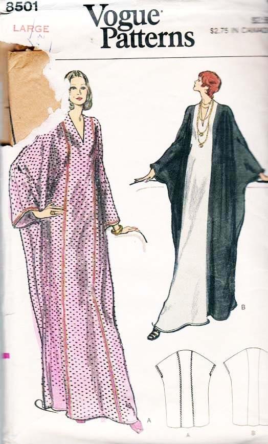Vintage Vogue Caftan Robe Sewing Pattern 8501