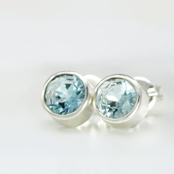 Sky Blue Topaz Gemstone Stud Earrings in Sterling Silver Bezels