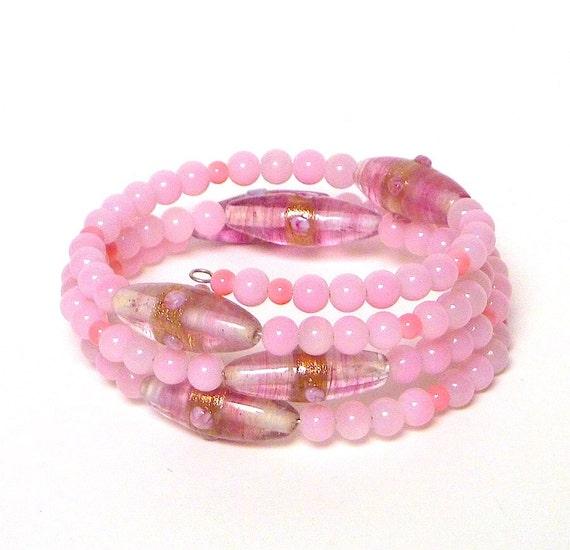 Beaded Coil Bracelet pink BABY CAKES Beading Divas Fundraiser
