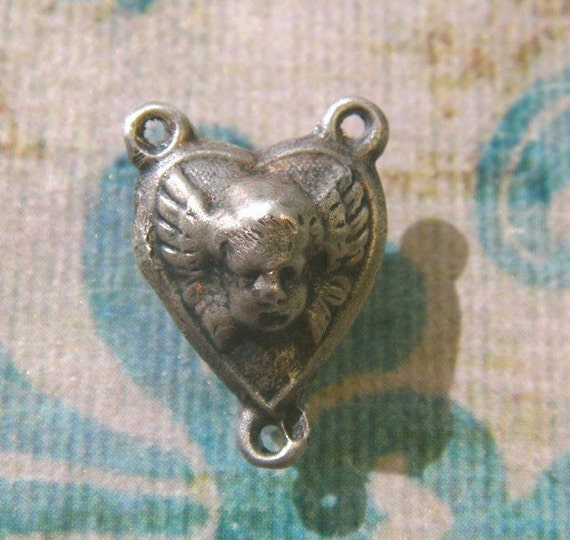 PAIR Silver Cherub Rosary Connectors