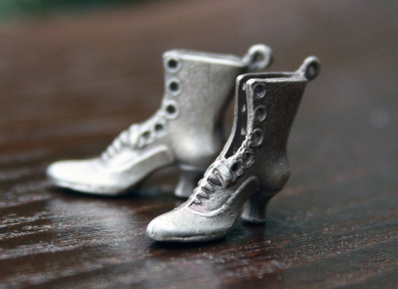 Solid Silver Victorian Lady Boot Charms - Pair - Made to Order