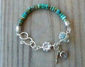 RESERVED LISTING for Lynn  - Sterling Daisy and Turqoise Bracelet