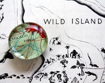 Custom Made Map Glass Magnets -set of THREE- you choose the places
