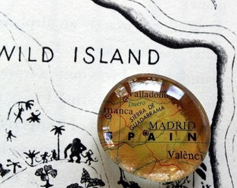 Custom Made Map Glass Magnets - set of FIVE -you choose the places