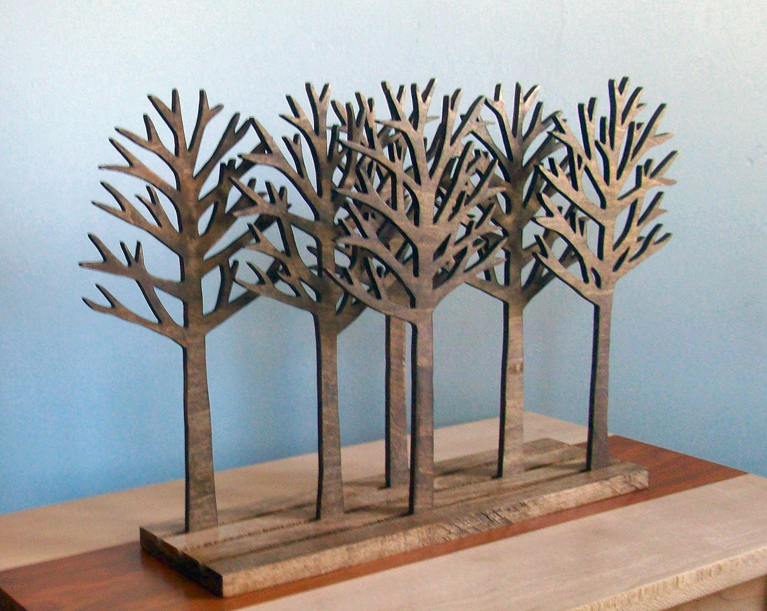 forest wood sculpture art tree sculpture rustic by elwoodworks. Black Bedroom Furniture Sets. Home Design Ideas