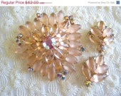 RESERVED FOR 0 Do Not Purchase Vintage Juliana Brooch Earrings set  Peach