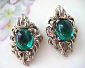 Vintage Earrings Austria Green Rhinestone