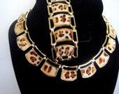 Vintage Faux Leopard Necklace Bracelet Set 1950s CIJ Sale