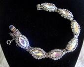 Glitzy rhinestone bracelet Vintage aurora borealis CIJ Sale
