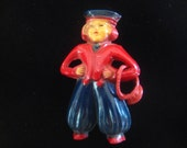 Vintage Celluloid Figural Pin Dutch Boy