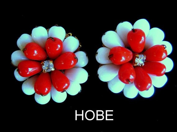 Signed HOBE Earrings Glass Red White Beads VINTAGE