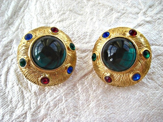 Vintage Earrings Large Green Cabochon
