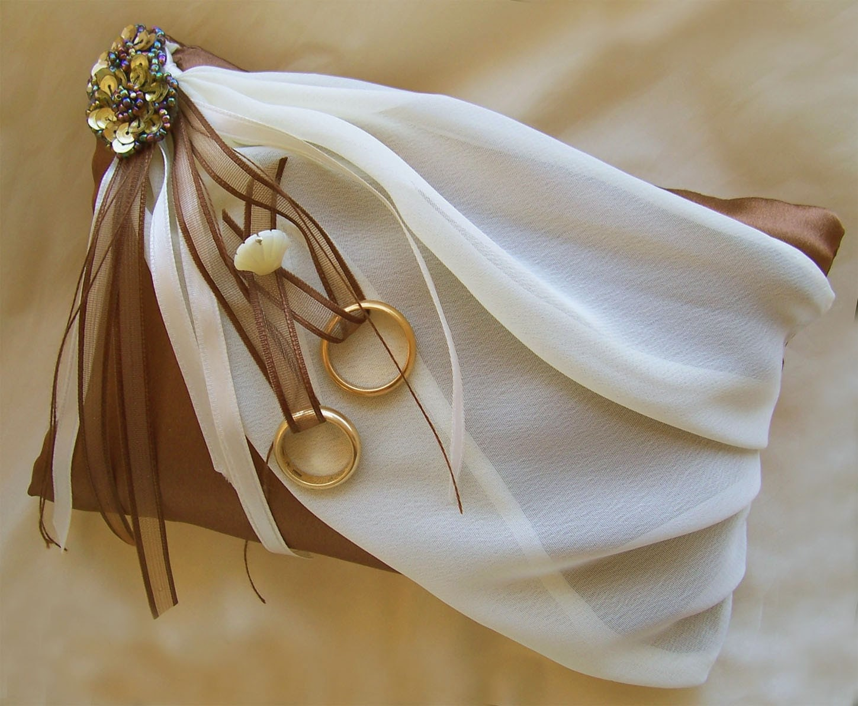 Brown Ivory Wedding Ring Bearer Pillow