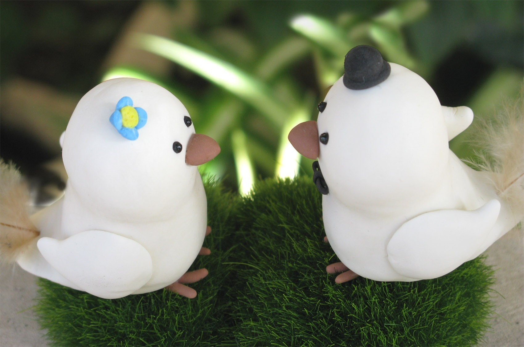 Elegant cute Love birds wedding cake toppers with faux grass