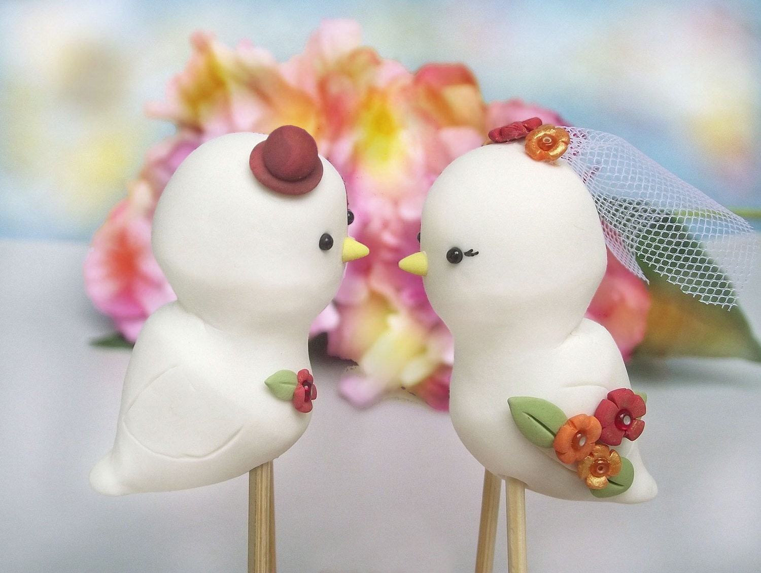 Cute Love birds wedding cake toppers with veil and tie