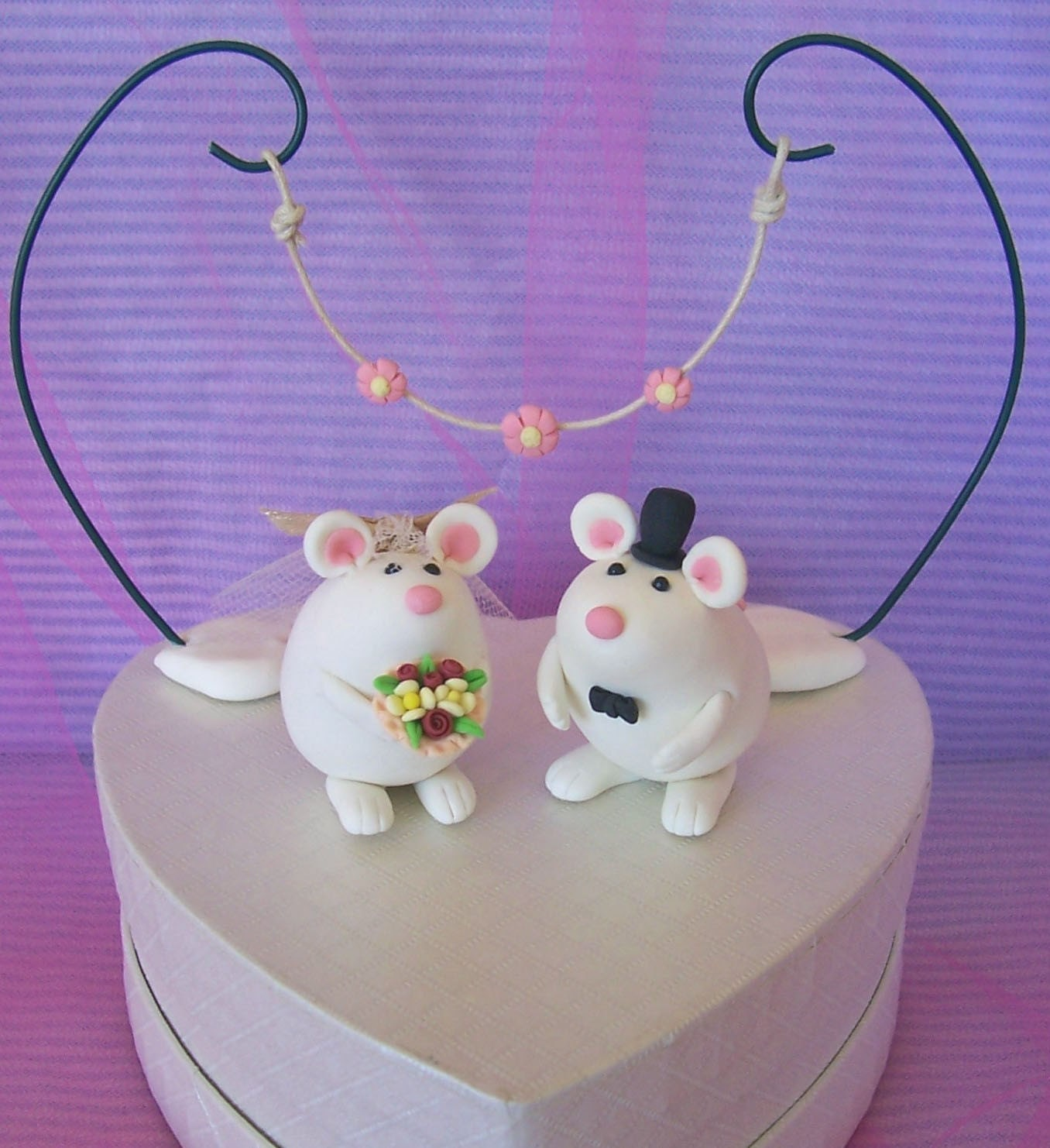 Cute white mice wedding cake toppers customizable by