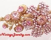 Vintage Miriam HASKELL Pink Rhinestones Beads faux Pearls Floral Brooch