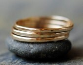 Gold Stacking Rings,  Handmade Stack of Three 14k Yellow Gold Bands