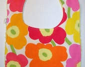 Baby Girl Bib, Multi Pastel Colors  Mini Unikko and Yellow Terry , for a girl, gift idea, Finland