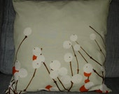 Orange Snow Berry ,Lumimarja, cotton cushion pillow case, 18 inches, 45 cm FInland
