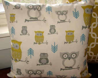 "SALE Owl Pillow case, cushion cover, size 18"", 45cm"