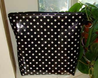 Black White Polka dot OIL cloth waterproof swim wet baby bag pouch