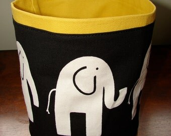 Elephant Basket Bucket yellow, cotton canvas