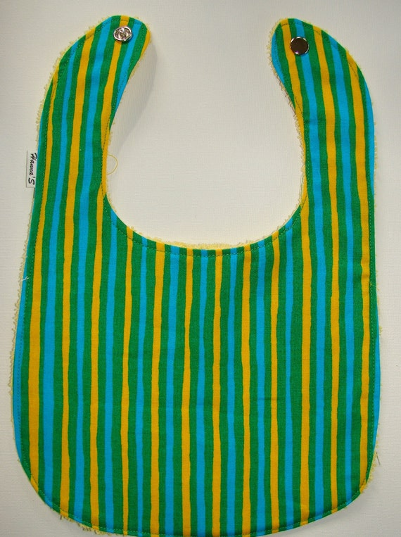 Green Yellow Blue Baby Bib handmade from Marimekko Piccolo cotton fabric