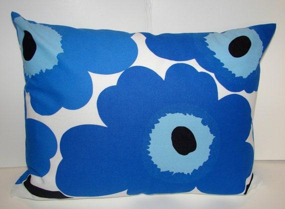 Blue Poppy Unikko pillow cushion cover, Maija Isola, Finland