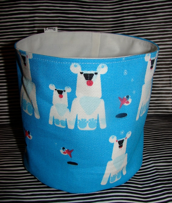 Blue  Polar Bear Jaakarhu Fabric Canvas Basket made from Marimekko Canvas, Finland