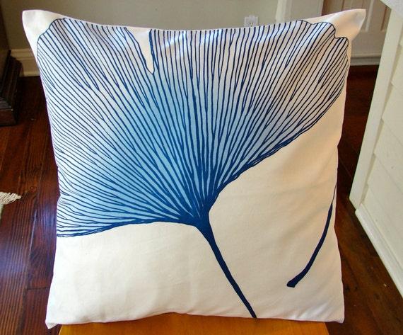 "Marimekko Blue Ginkgo Satin Pillow Case, 20x20 inches, 50x50cm  Finland, LAST 20"" ONE"