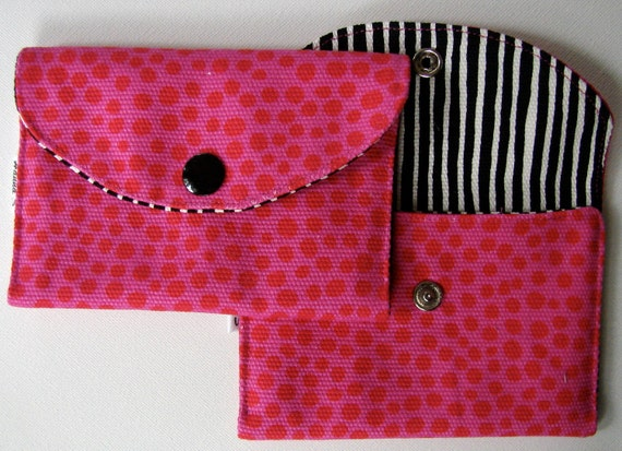 Hot Pink Pirput Parput and Varvunraita Canvas mini wallet with a snap, Finland ONE wallet
