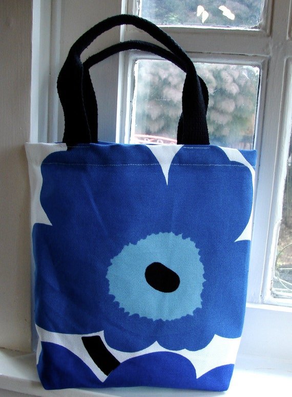 Blue Unikko Heavy Canvas Tote Purse Bag for a Girl, Finland