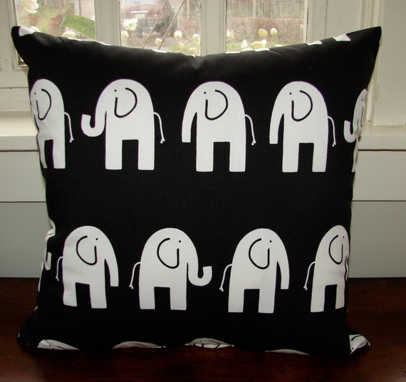 """CLEARANCE Elephant Pillow, size 18x18"""", 45 cm, black and white cotton canvas, US ship only"""
