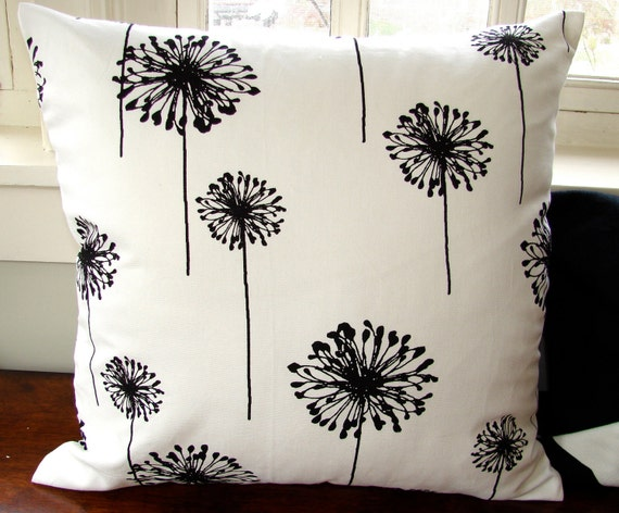 "Cotton floral Pillow, size 18x18"" cm, black and white light cotton canvas, US ship only"