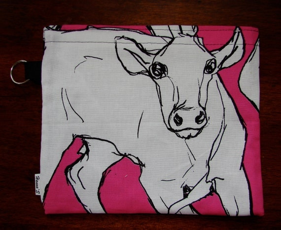 HUGE Pink Baby Cow lunch / make up / Wet / Baby /Bag/ Pouch about 8.5x 7.5 inches