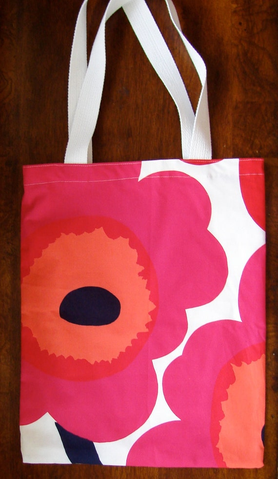 Red Pink Poppy Unikko Shopping Tote, lined, Finland, designer fabric, Maija Isola