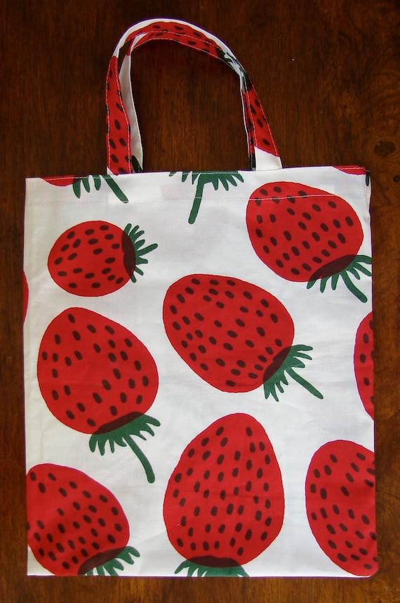 Strawberry 'Mansikka' tote, water repellant oil treated cotton fabric. Super fun bag.