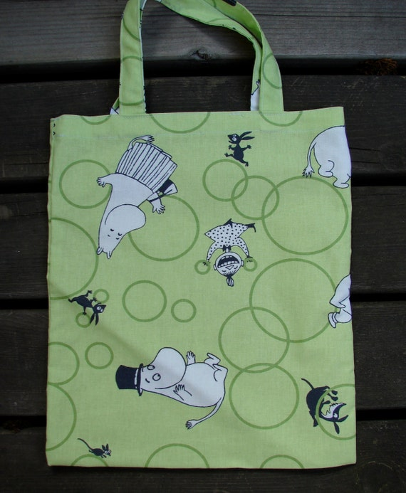 Moomin Green Small shopping bag , Tote for a girl or a boy, Finland, gift