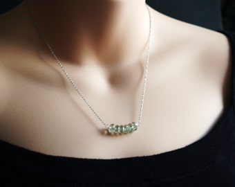 Green Amethyst Necklace, Prasolite Rondelle Necklace
