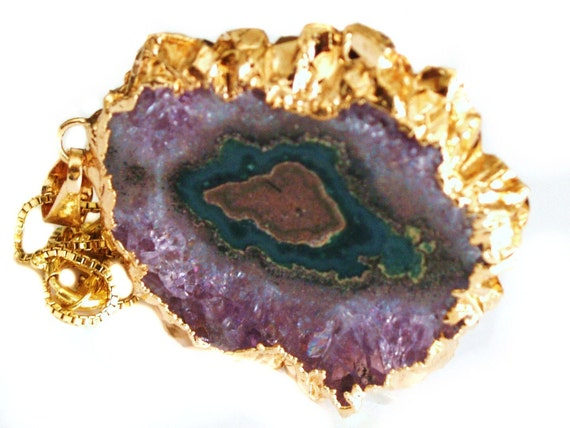 Gold Dipped Amethyst Stalactite Necklace Druzy Pendant. Statement Organic Jewelry By Prisha Jewels