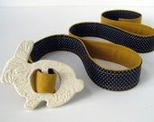 Ceramic Bunny Buckle in Creme by Cassie with Mustard and Dotted Reversible Belt