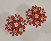 Reserved for 1940sLady 1950s Red Enameled and White Rhinestone Flower Cluster Vintage Screwback Earrings