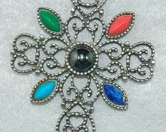 1972 AVON Romanesque Cross Large Silver Tone Filigree Openwork with Hematite Look Cabochons Vintage Cross Pendant Necklace