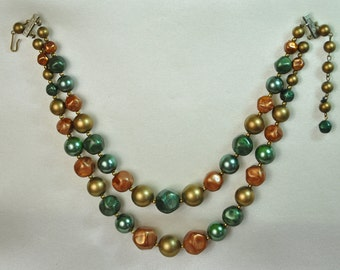 Double Strand Green Gold and Pumpkin Orange Nugget Vintage Beaded Choker