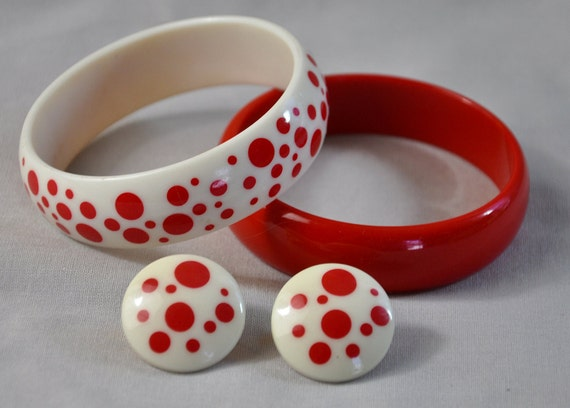 1980s Red and White Lucite Bangle Bracelet Duo Plus Earrings Avon Polka Dots