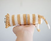 Crocheted Lion Baby Toy for Cuddling Grasping and Teething - Natural White Mustard Pastels Cotton  - Made to Order - The Long Lion