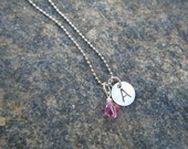 Tween Girl's personalized Initial birthstone Necklace