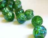 Vintage Forest Green Carved Acrylic AB Round Beads 6mm