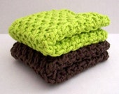 Hand Crocheted Ribbed Cotton Dish Cloth Set 7x7